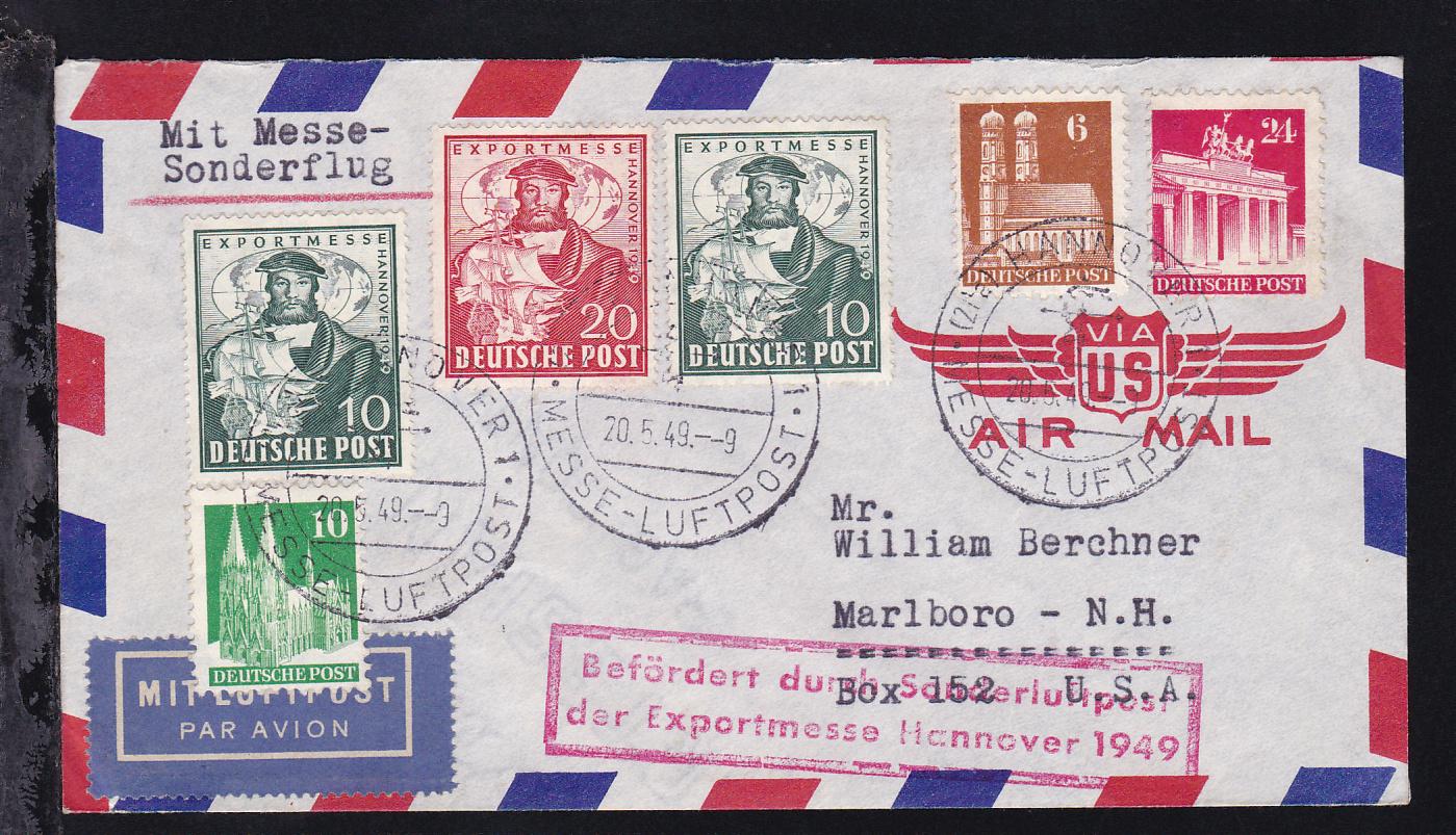 Messe Sonderflug Hannovermesse 1949 Brief Nach Marlborousa